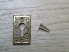 Georgian Ornate Escutcheon Polished Brass
