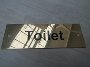 Rectangular Brass Toilet Door Sign