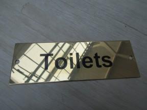 Rectangular Brass Toilets Door Sign