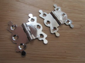 Pair Of Small Butterfly Butt Hinges Chrome Plated