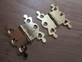 Pair Of Small Butterfly Butt Hinges Brass Plated