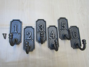 Pack Of 6 Industrial Numbered 1-6 Coat Hooks
