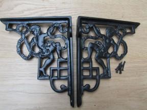 Pair Of Cherub Shelf Brackets Black Antique