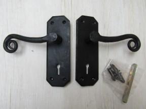 Curly Lever Mortice Lock Door Handles black wax