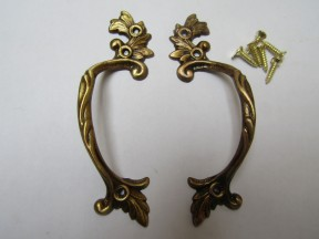 Pair Of Decorative Leaf Cabinet Pull Handles Antique Brass