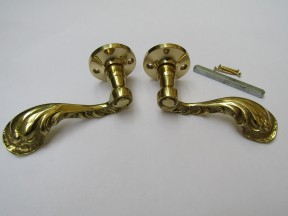 Pair Of Fancy Ornate Lever On Rose Door Handles Polished Brass