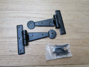 "Pair of Penny End Cabinet Hinges 6"" Black Wax"