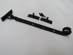 """Handforged Curly Casement Stay Arm 12"""" Black Beeswax"""