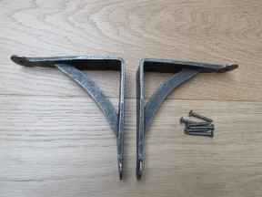 """Pair Of Hand Forged Penny End Shelf Brackets 4""""."""