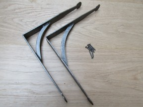 """Pair Of Hand Forged Penny End Shelf Brackets 7"""""""