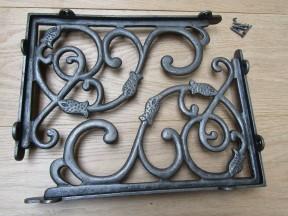 Pair Of Large Heavy Dutch Shelf Brackets Antique Iron