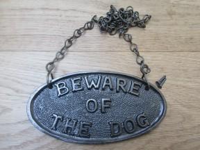 Cast Iron Beware Of The Dog Plaque