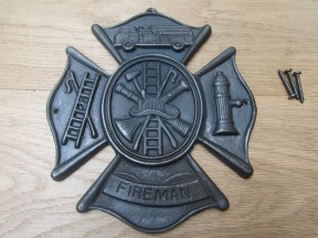 Cast Iron Fireman Emblem Plaque