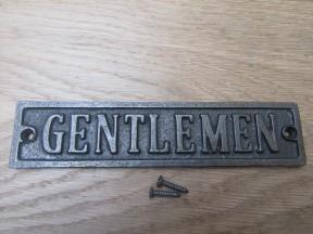Cast Iron Gentlemen Plaque