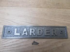 Cast Iron Larder Plaque