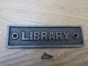 Cast Iron Library Plaque