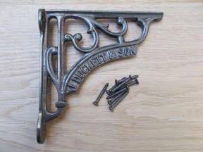 "J Duckett and sons inscription decorative scroll bracket-6"" x 6"""