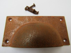 Large Rectangular Cup Pull Handle Rust