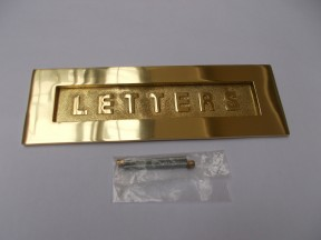"12"" Letters Embossed Letter Plate Polished Brass"