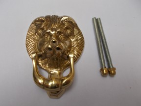 Small Lion Head Door Knocker Polished Brass