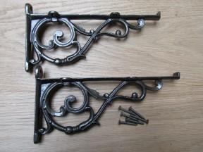 Pair Of Large Lipped Shelf Brackets Antique Iron