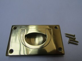 90mm Large Campaign Chest Handle Polished Brass