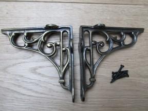 """Pair Of 5"""" Victorian Scroll Shelf Brackets Antique Brass"""