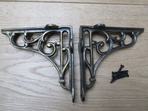 "Pair Of 7"" Victorian Scroll Shelf Brackets Antique Brass"