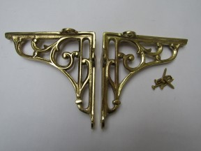 "Pair Of 7"" Victorian Scroll Shelf Brackets Polished Brass"