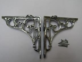 "Pair Of 6"" Victorian Scroll Shelf Brackets Polished Chrome"