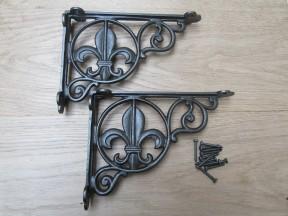 Pair Of Fleur De Lys Shelf Brackets Antique Iron