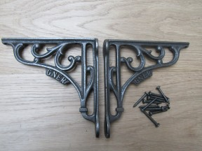 "Pair Of 6"" GNER Shelf Brackets Antique Iron"