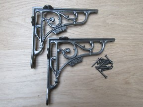 "Pair Of 7"" GNER Shelf Brackets Antique Iron"
