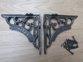 "Pair Of 5"" J Duckett Shelf Brackets Antique Iron"