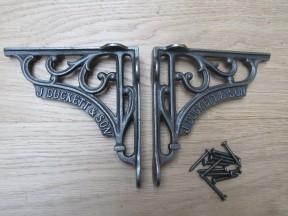 "Pair Of 6"" J Duckett Shelf Brackets Antique Iron"