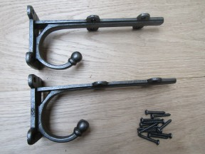 "Pair Of 8"" Jacobean Shelf Brackets Antique Iron"