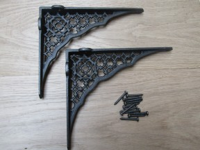 "Pair Of 8"" Jali Lattice Shelf Brackets Antique Iron"