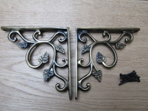 Pair Of Small Leaf Shelf Brackets Antique Brass