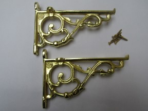Pair Of Small Lipped Shelf Brackets Polished Brass