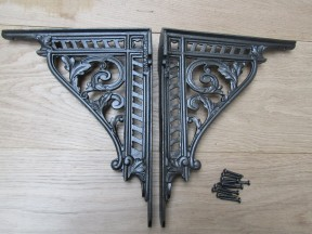 "Pair Of 12"" Ornate Shelf Brackets Antique Iron"