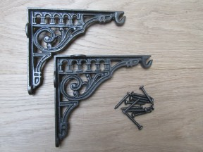 "Pair Of 6"" Roman Hook Shelf Brackets Antique iron"