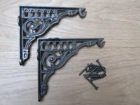 "Pair Of 10"" Roman Hook Shelf Brackets Antique iron"