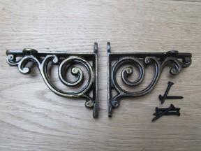 Pair Of Swirl Shelf Brackets Antique Brass