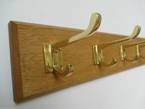 Polished Brass Hall Stand 7 Hook Coat Rail 78cm
