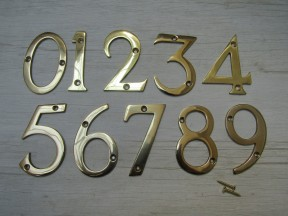 "3"" Polished Brass Number 3"