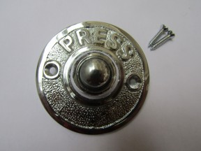Press Embossed Round Bell Push Polished Chrome