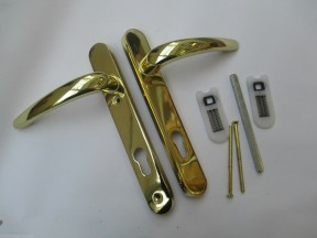 PVCU Euro Profile Lock Handles polished brass