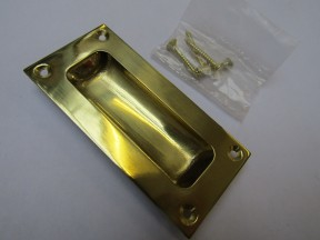 90mm Rectangular Recessed Slide Handle polished brass