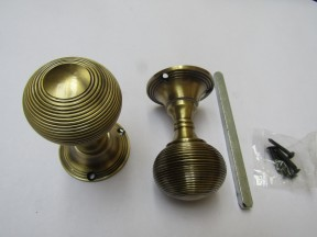 Mortice Door knob Antique Brass Queen Anne Reeded