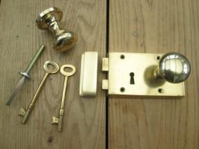 Solid Brass Old Style Door Georgian door RIM LOCK  KNOB SET- LEFT HANDED LOCK+ KNOB PLAIN POLISHED BRASS